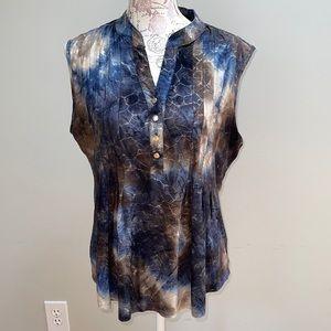 Cocomo Blue Brown Sleevless Blouse XL